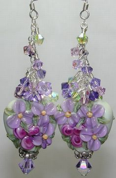 Green PURPLE Big HUNK Floral HEART Brilynn HANDMADE Lampwork BEAD Earrings
