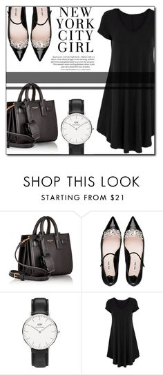 """Black in fashion"" by fashion-pol ❤ liked on Polyvore featuring Yves Saint Laurent, Miu Miu, H&M and Daniel Wellington"