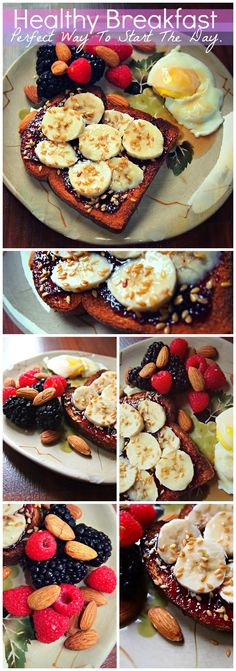 Healthy Breakfast- The Perfect Way To Start The Day (Raspberries, Blackberries, Almonds, Egg, Banana, Flax, Jam, Whole Grain Toast) (healthy eating diet)