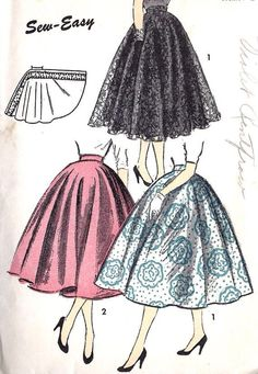 BEAUTIFUL Full Circle Skirt Pattern ADVANCE 6688 Super Easy To Make Only 2 Pieces and Waistband, Waist 24 Vintage Sewing Pattern-Authentic vintage sewing patterns: This is a fabulous original dress making pattern, not a copy. Because the sewing Dress Making Patterns, Vintage Dress Patterns, Vintage Skirt, Clothing Patterns, Moda Vintage, Vintage Mode, Vintage Pink, Vintage Style, 1950s Style