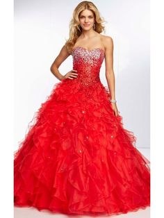 RED BALL GOWN SLEEVELESS LACE-UP BEADED SWEETHEART FLOOR LENGTH ORGANZA PROM DRESS WITH SEQUIN