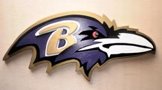 Large Custom 3D Baltimore RAVENS NFL Football Logo Wooden Plaque 24x12 Wood Sign