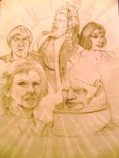 The Two Doctors A3 pencil sketch. Inspired by Andrew Skilleter.
