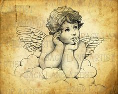 Vintage Baby Angel Clipart Lineart Illustration by BackLaneArtist