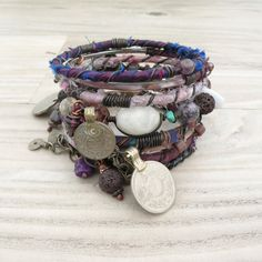 Silk Road Gypsy Bangle Stack - Orchid and Purple - 8 Bohemian Tribal Bracelets, Silk Wrapped and Beaded