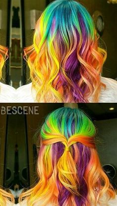 Blue yellow purple rainbow dyed hair color inspiration @bescene