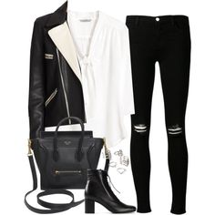 Untitled#2807 by fashionnfacts on Polyvore featuring H&M, rag & bone, J Brand, Yves Saint Laurent, CÉLINE and Forever 21