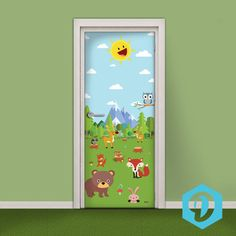 Kids Door Sticker - Vinyl Wallpaper - Adhesive Decal Wrap - Cute Cartoon Animals on the Meadow from Decorelo on Etsy.
