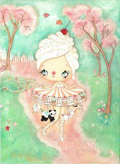 Carousel Print Merry Go Round Bird Art Carnival Girl The Cupcake Carousel Panda Bunny Art Medusa Painting, Carnival Girl, Original Paintings, Original Art, Halloween Moon, Merry Go Round, Bunny Art, Art Journal Inspiration, Sport Inspiration