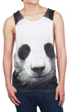 d9f8817dabe32 Panda Shirt Panda Tank Top Lovely White Black Bear Animal Print Men Tank  White Tank Top Men Top Vest Sleeveless Tunics T-Shirt Size M on Etsy.
