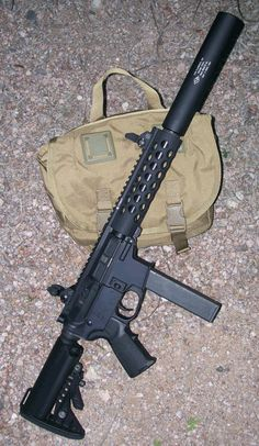AR With suppressor. that should be a nice quiet shooter. not great for distance, though. Military Weapons, Weapons Guns, Guns And Ammo, Glock Guns, Tactical Rifles, Firearms, Shotguns, Submachine Gun, Cool Guns
