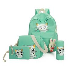 4Pcs Sets 2018 Women Backpacks Cartoon Printing School Backpack Canvas  Schoolbags for Teenage Girls Students Bag Children Casual 4007553ed7422