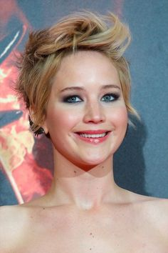J Law- more dressed up put together kind of style #2 Love this girls' hair!