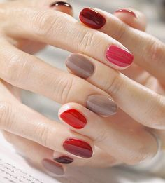 pretty pretty nails easy gorgeous manicure ideas for 2019 natural shape with summer vibes Love Nails, Fun Nails, Pretty Nails, Nail Manicure, Nail Polish, Red Polish, Manicure Ideas, Multicolored Nails, Colorful Nails