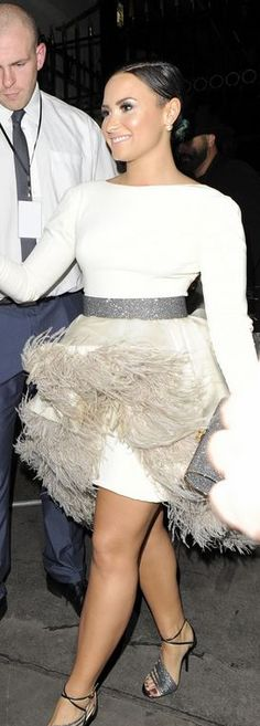 Who made Demi Lovato's white feather dress that she wore in London? Dress – Ashi Studio