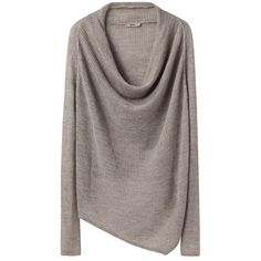 Cowl Neck Sweater by Helmut. Linen & alpaca blend long  sleeve pullover with tubular cowl neck, contrasting knit sections &  asymmetric hem. Deep cowl neck…