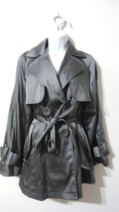INC International Concepts Metallic Short Med Trench Peacoat Coat Jacket Small S #INCInternationalConcepts #Trench