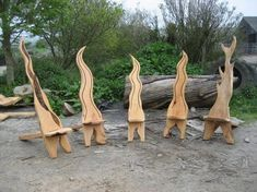 Found thes pics of some chairs me and a mate who is a top carver made last year out of some sawmill offcuts The one with holes in is oak, about 6 tall, the one that looks sort of like a shark diving is ash, the other three are macrocarpa. Woodworking Projects Diy, Diy Wood Projects, Wood Crafts, Chair Design Wooden, Tree Furniture, Furniture Outlet, Cheap Furniture, Discount Furniture, Rustic Furniture