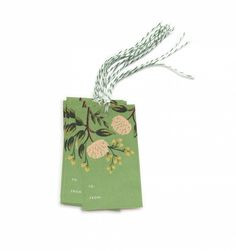 Emerald Peonies Package of 10 Gift Tags & Tag Ties