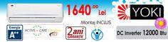 Oferta aer conditionat YOKI DC Inverter 12000 btu cu instalare inclusa ! Pret 1640 Lei - Disponibil in Bucuresti si Ilfov in limita stocului disponibil Lei, Nintendo Wii, Logos, Games, Logo, Gaming, Plays, Game, Toys