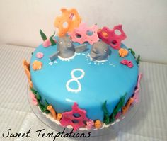 Dolphin cake - Birthday cake for my niece. She was on vacation swimming with dolphins and is totally in love with dolphins. This was her surprise cake =) Dolphin Cakes, Cupcake Cakes, Cupcakes, Birthday Parties, Birthday Cake, Surprise Cake, Fondant Animals, Princess Party, Dolphins