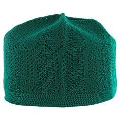 a8417cc9d98 Pine Green Cotton Muslim Prayer Mens Skull Cap Crotchet Kufi Islamic Hat  Knit Topi Made in Turkey Only  2.99!