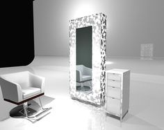 Truely what I want in concept-one nice chair, one big mirror, one nice rolly cart