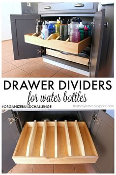 diy drawer divider for water bottles, diy, kitchen cabinets, kitchen design or … - Architecture Ideas Redo Kitchen Cabinets, Kitchen Drawers, Kitchen Redo, New Kitchen, Kitchen Design, Storage Cabinets, Diy Organizer, Kitchen Organization, Pull Out Cabinet Drawers
