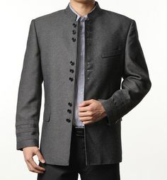 Click to Buy    Single breasted slim fit blazer men chinese tunic suit.    d7b62db2c9ca6