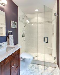 Beautiful bathroom before and after reno with walk-in tile shower, marble…