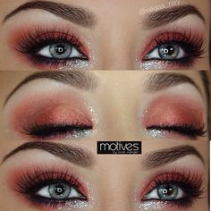 Who's ready for Halloween but not sure how to wear your makeup..try a bold red w/ glimmering glitter STEPS⬇️ Shadows & Glitter by @motivescosmetics 1.) apply RETRO RED pencil on lid & pat RED EARTH e/s over lid 2.) blend upward w/ PINK DIAMOND e/s & apply CREME FRESH to brow bone 3.) apply KHOL pencil in BLACK TO waterline and top lash line & smudge 4.) add AMETHYST gel liner to lower/outer lash line and blend RED EARTH below it 5.) apply Glitter pot in CELEBRATE w/ glitter gel adhesive...