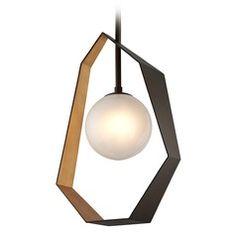 Troy Lighting Origami Bronze / Gold Leaf LED Pendant Light With Globe Shade