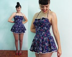 Vintage 40s Flirty Ruffle Swimsuit Chic swimsuit    by Aquanetta, $135.00