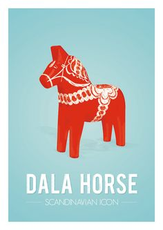 Retro Dala horse print from Scandinavia, Iconic Swedish retro poster, Mid century dalecarlian art print, Red Blue A3. €14.00, via Etsy.