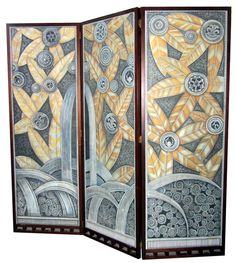 "Tall American Art Deco Three Panel Geometric Folding Screen. The 3 hand painted on canvas American art deco panels in this folding screen came from a 1920's movie theatre.  The previous owner had them professionally mounted to form the hinged screen.  The panels are reminiscent of Edgar Brandt's famous ""Oasis"" screen created for the 1925 Paris Exposition. (hva)"