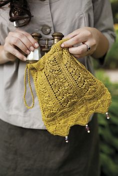 Wee bag for rings or for bride in cream From Jane Austin knits