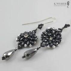 kolczyki,subtelne,eleganckie,długie,grafitowe - Kolczyki - Biżuteria