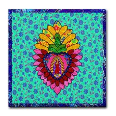 Pink Guadalupe Milagro Tile Coaster by Maison Celeste: Cafe Press Store - CafePress Painting Inspiration, Art Inspo, Guatemalan Art, Latino Art, Mosaic Projects, Tile Coasters, Mexican Folk Art, Leaf Art, Mural Art