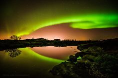 Northern lights in Iceland.    Photo By: Pétur Gunnarsson