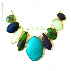 """A Stella & Dot Serenity Stone Necklace This beautiful statement necklace combines turquoise & mixed hand dyed jade with smooth & faceted glass stones all set in hand hammered bezels. As seen on Brooke Burke and People & Style Watch magazine. 12k gold plated brass chain. Jewlery made with natural stone will highlitght variations that naturally occur in the stone. 16"""" length with 3.25"""" extender. Lobster clasp closure. Brand NIB. TRADES/PP Stella & Dot Jewelry Necklaces"""