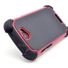 Click Image to Browse: $9.95 Black Red X Shield Double Layer Hard Case Gel Cover For HTC One S