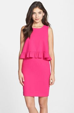 Free shipping and returns on Trina Turk Ruffle Woven Popover Dress at Nordstrom.com. An additional ruffle highlights the trendy popover silhouette of this colorful sheath dress. A crossover-style back allows for extra architectural flutter and a hint of skin.