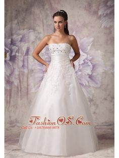 Beautiful A-line Strapless Wedding Dress Tulle Beading Floor-length- $205.49  http://www.facebook.com/quinceaneradress.fashionos.us  http://www.fashionos.com   | strapless wedding dresses with a line floor length | strapless bridal dress with tulle beading | white wedding dresses with beading and zipper up back | beautiful wedding dresses with beading | strapless bridal dress with zipper up |