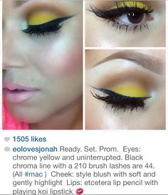 Eyes: chrome yellow and uninterrupted. Black chroma line with a 210 brush lashes are (All ) Cheek: style blush with soft and gently highlight Lips: etcetera lip pencil with playing koi lipstick Gorgeous Makeup, Love Makeup, Makeup Inspo, Makeup Inspiration, Makeup Tips, Beauty Makeup, Makeup Looks, Beauty Skin, Yellow Makeup