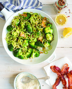 "Garlicky Broccoli ""Zoodles"" with Bacon"