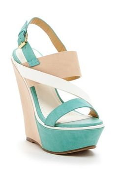Elegant Footwear Sannede Two-Tone Wedge Sandal