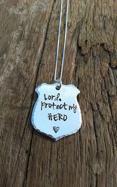 "Police Officer Gift, Custom Hand Stamped Quote ""Lord protect my hero"" Police Badge Charm, Hero Cop Wife Girlfriend Gift Idea"
