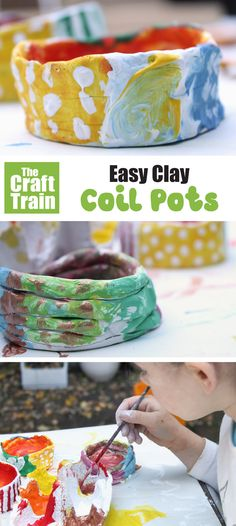 Easy clay coil pot craft for kids. Make traditional coil pots from air dry clay, they are great fro kids of all ages and make a lovely handmade gift idea too! Air Dry Clay Ideas For Kids, Clay Projects For Kids, Clay Crafts For Kids, Kids Clay, Easy Crafts, Art Projects, Sculpey Clay, Polymer Clay Crafts, Clay Activity