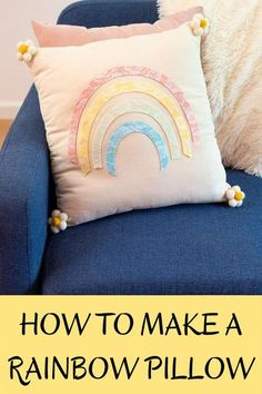 This DIY no sew rainbow pillow is an easy decorative piece to make for your home! #diyrainbowpillow