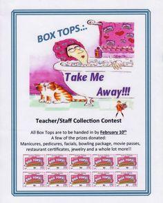 Take Me Away Boxtop Sheet (Colors) Pta School, School Fundraisers, Box Tops Contest, Box Top Collection Sheets, School Spirit, Elementary Schools, Idea Box, Classroom, Fundraising